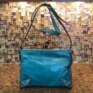 Michael Kors Fallon MD Messenger Bag Aqua Leather